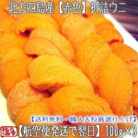 ウニ 北海道(折詰)生エゾバフンウニ(赤色)300g(100g×3 北方四島産)濃厚さが分かる職人技の折うに。ギフトにも大好評です、高評価ありがとうございます!