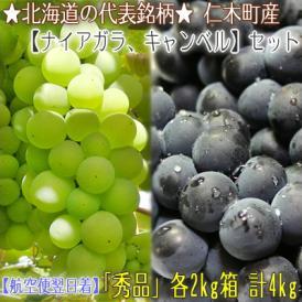 北海道産 ぶどう セット 4kg箱(ナイアガラ 2kg キャンベル 2kg 北海道 秀品)芳醇な香りのブドウセット。ギフトにも大好評、高評価ありがとうございます!