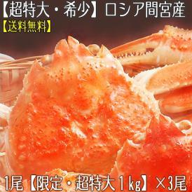 ズワイガニ(超特大 姿)1kg前後×3尾(北海道直送 最高級 ボイル済 ロシア間宮産)大きいです!甘い蟹身、濃厚な蟹味噌は絶品。高評価ありがとうございます!