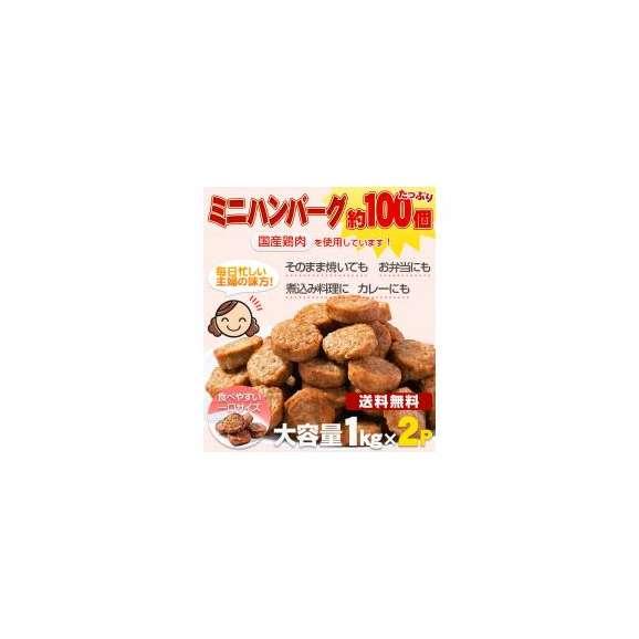 送料無料!メガ盛り約100個 一口ハンバーグ(国産鶏使用)1kg×2パック業務用01