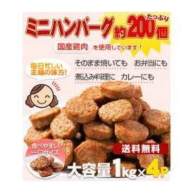 送料無料!メガ盛り 一口ハンバーグ約200個(国産鶏使用)4kg(1kg×4P)