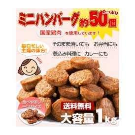 送料無料!メガ盛り 一口ハンバーグ約50個(国産鶏使用)1kg