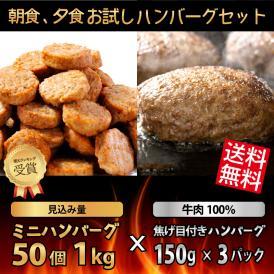 【送料無料】朝食、夕食お試し ハンバーグセット(ミニハンバーグ50個 1kg×牛肉100% 焦げ目付きハンバーグ150g×3パック)