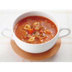 野菜、豆類、マカロニなどの具材がたっぷり入ったトマトベースの具だくさんミネストローネです。