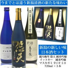 新潟の新しい味 日本酒セット720ml×3本[越乃梅里・悠天、イットキー マスカガミF50辛口]日本酒 お中元 夏ギフト 辛口 甘口 飲み比べセット
