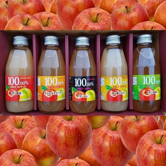リンゴジュース 5本セット(サンふじ/サンジョナゴールド/サン王林/サン紅玉/サン蜜こうとく)01