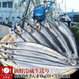 1尾110g~120g前後さんま北海道産4kg33~35尾前後とれたて新鮮冷蔵生送り 9月中旬頃より収獲次第順次発送 お届け日指定不可 選択指示無効 秋刀魚サンマ
