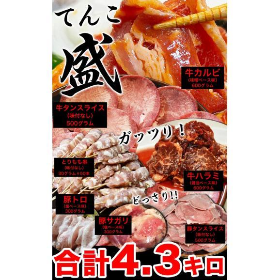 てんこ盛り焼肉セット 5~6人前 [牛タン、カルビ、ハラミ、焼き鳥串など含め7品4kg超] [BBQ バーベキュー]03