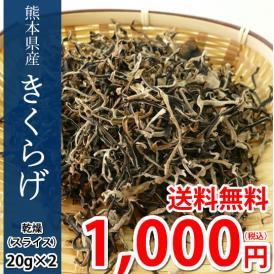 きくらげ 乾燥木耳 送料無料 希少な国産 スライス 20g×2袋 熊本県産