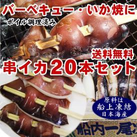 日本海産【串イカ・20本セット(送料無料)】(約70g前後×20本)シマメイカ(するめいか)[ボイル