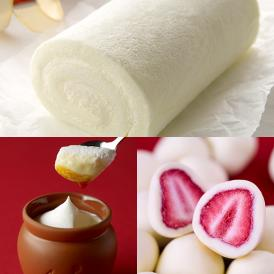 神戸巻(ロール)・ホワイトと壷プリンと苺トリュフのセット