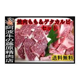 【送料無料】~ 焼肉セット ~「阿波牛の藤原」モモ焼肉用500g★ゲタカルビ焼肉用500g