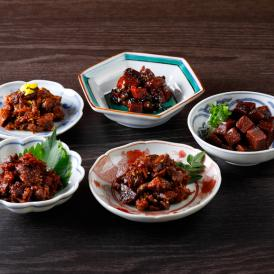 5種類のまぐろの佃煮詰め合わせ。低カロリーでDHAが豊富、日持ちも長いので、贈答用にぴったり。