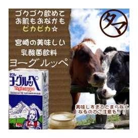 ヨーグルッペ(乳酸菌飲料)1000ml霧島山麓で育った牛の生乳を、ドイツから輸入したビフィズス菌・アシドフィルス菌・ サーモフィルス菌で乳酸発酵させた飲料