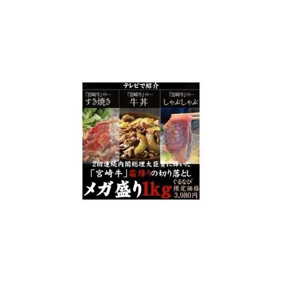 50セット限定!【訳待ち価格】リッチな宮崎県産黒毛和牛切り落としのメガ盛り1kg お中元01