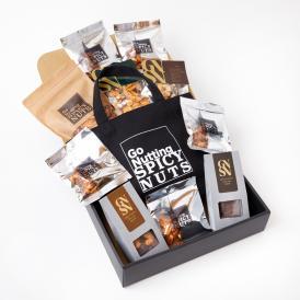 1日10個限定![送料無料]ヘヴィーユーザー御用達  一度食べると止まらない!と人気の『「甘くて辛い、スパイシーナッツ」全部のせBOX』。チョコレートも入っています。ご褒美用、お取り寄せ、贈答用にも。