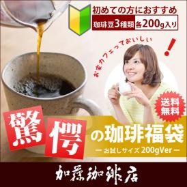 (200gVer)驚愕の珈琲福袋(冬・Qコロ・ラス/各200g)【送料無料】/珈琲豆