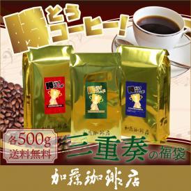 勝とうコーヒー三重奏の福袋(緑・青・赤/各500g)