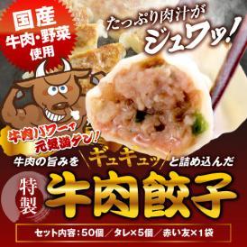 【送料無料・タレ付】研ちゃん餃子の業務用餃子! 牛肉餃子 50個入り×1袋