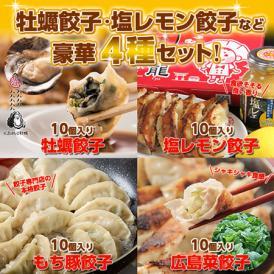 【送料無料】広島好きのお父さんへ 広島牡蠣・レモン・もち豚・広島菜が入ったご当地餃子40個セット!
