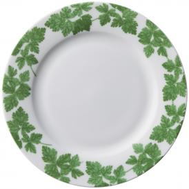 鮮烈なグリーンのリーフ柄が、いつもの料理を無造作に盛り付けるだけでも、ぐっと華やかに。