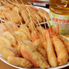 【当店人気の串カツ40本+ソース缶+綿実油】お店の味をおうちで再現! 串カツパーティセット