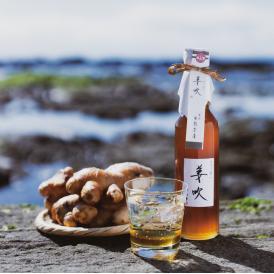 葉山産の生姜だけを搾った汁と甜菜糖と蜂蜜を合せた生姜飲料です。