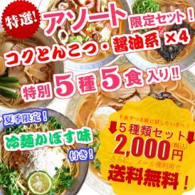 送料無料!5種類のスープのお試しセット コクとんこつ醤油系!麺・スープ付き5人前セット