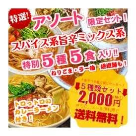 スパイス系ミックスセット(坦々麺、カレースパイス味、とんこつ先生、みそ、九州男児)