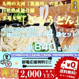 夏の冷し麺!! 九州特産 本場熟成麺 ざるうどんセット 麺210g(約2~3人前)×4袋