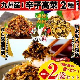 ◆本場九州 辛子高菜 明太子&だし醤油仕立て 食べ比べ 2袋セット 九州特産品 ご飯 ラーメン 炒飯 お試しグルメ 父の日