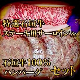 【送料無料】特選石垣牛ステーキ用サーロイン&石垣牛100%ハンバーグセット