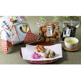 評判堂で人気のお菓子5種を竹で編んだ目ざるかごにいれて『浅草みやげ』として特別にお誂えました。