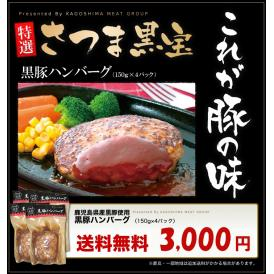 【送料無料】鹿児島県産黒豚ハンバーグ 150g×4個
