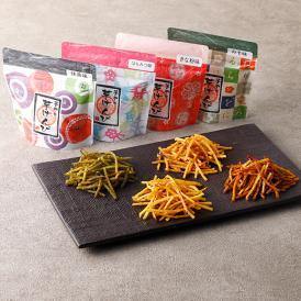 抹茶、はちみつ、きな粉、味噌の4種の味が楽しめる「芋けんぴ」。