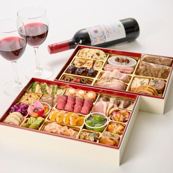 銀座ポルトファーロ 洋風オードブル+肉おせち 二段重「宝珠」全40品 3-4人前 送料無料01