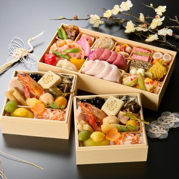 京都美先 国産素材のおせち料理 和一段重「雪月花」全27品 2人前01