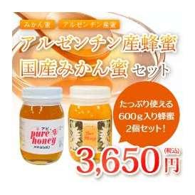 アルゼンチン産蜂蜜&国産みかん蜜 各600g 2個セット