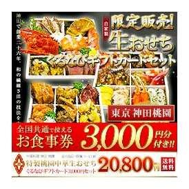 【限定販売!】ランキング1位 温めるとさらに美味 桃園中華生おせちギフトカード3000円セット 3段重