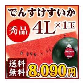 でんすけすいか【秀品】4L(9〜10kg)1玉【送料無料】