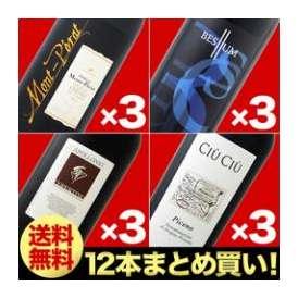 【送料無料】【まとめ買い】人気赤ワイン大人買い12本セット!<br>シャトー・モン・ペラ ルージュ 2012×3本<br>セリェール・マロンドロ・ベスリュム 2008×3本<br>アッポローニオ・コペ