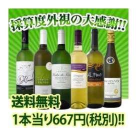 【送料無料】なんと1本あたり667円(税別)!!採算度外視の大感謝の白ワイン6本セット!!!