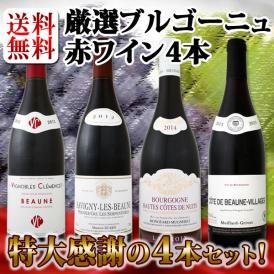 【送料無料】特大感謝のブルゴーニュ赤ワイン大放出4本セット!