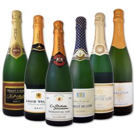 【送料無料】ぜんぶクレマン!フランスの高級瓶内2次発酵の伝統製法!クレマンだけの至福なるスパークリング6本!【ワインは6~9月頃はクール便(+324円)を推奨いたします】