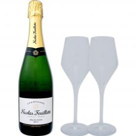 ニコラ・フィアット・シャンパーニュ・ブリュット・ホワイトラベル・グラス2脚セット set シャンパン スパークリング sparkling 750ml Nicolas Feuillatte ギフ