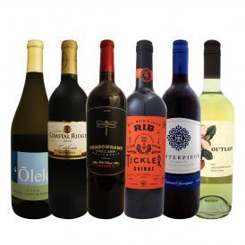 すべて品種違い6本セット set カリフォルニアのお値打ちワイン wine ばかりを集めた赤白6本ミックス