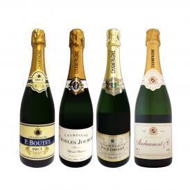 第7弾 シャンパン4本11000円 税込 1本あたり2750円 税込 厳選された高級辛口シャンパンがこの価格 さらにお得になった豪華絢爛シャンパン4本セット set
