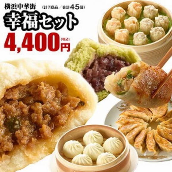 【ギフト】幸福セット 全7種45個入り 【横浜中華街行列店 皇朝】人気の定番点心がギッシリ!おやつにおかずにもってこいのファミリーサイズです。01