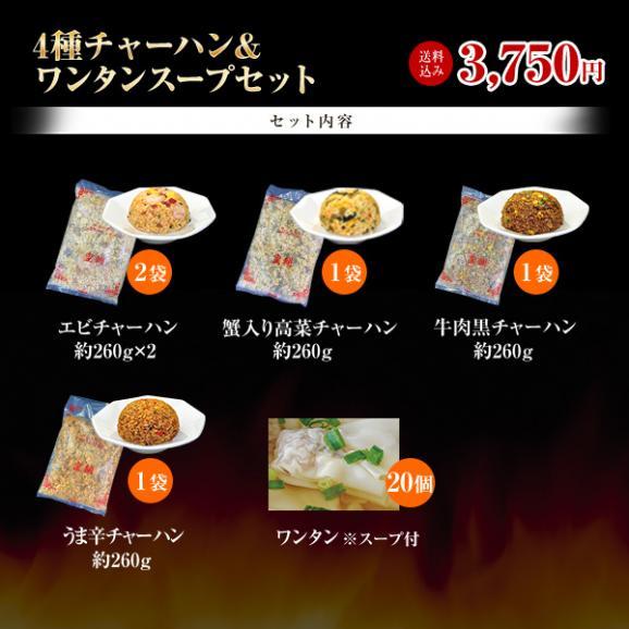4種チャーハン&ワンタンスープセット(計5商品/合計25個)【全国送料無料】02