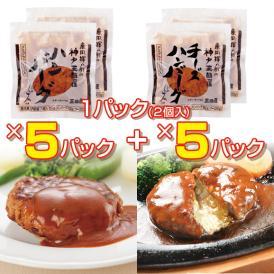【廣岡揮八郎の三田屋】冷凍食品セットGSF-80【タレ付ハンバーグ5P(10個)+チーズハンバーグ5P(10個)】